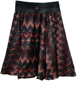 GraceDiva Printed Girl's Pleated Black, Brown Skirt