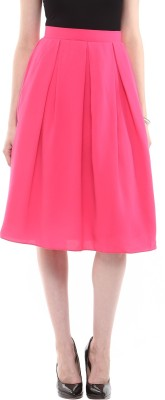 Roving Mode Solid Women's Pleated Pink Skirt