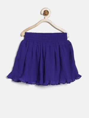 Yk Solid Girl's Peplum Blue Skirt
