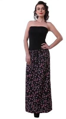 Purys Printed Women's Straight Black, Purple Skirt