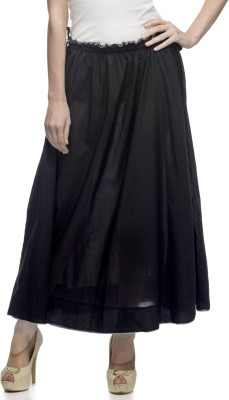 One Femme Solid Women's A-line Black Skirt