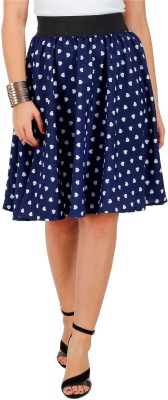 Grace Diva Geometric Print Women's Gathered Blue Skirt at flipkart