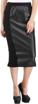 Cottinfab Solid Women's Pencil Black Skirt