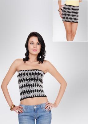 N-Gal Women's White, Black Skirt