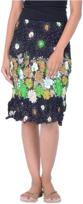 Legginstore Floral Print Women's Tiered Green Skirt