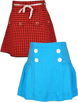 Gkidz Checkered Girl's A-line Grey, Blue Skirt