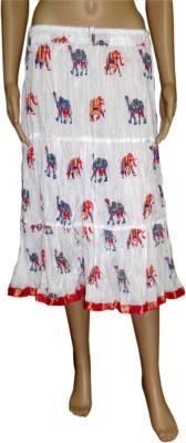 Pinkcityvilla Printed Women's Broomstick White Skirt