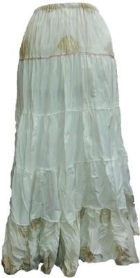 B VOS Self Design Women's Regular White Skirt