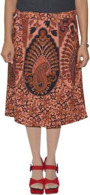 Shreeka Printed Women's Wrap Around Brown, Red Skirt