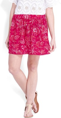 Anaphora Floral Print Women's Gathered Pink Skirt