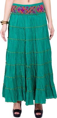Tuntuk Solid Women's A-line Green Skirt
