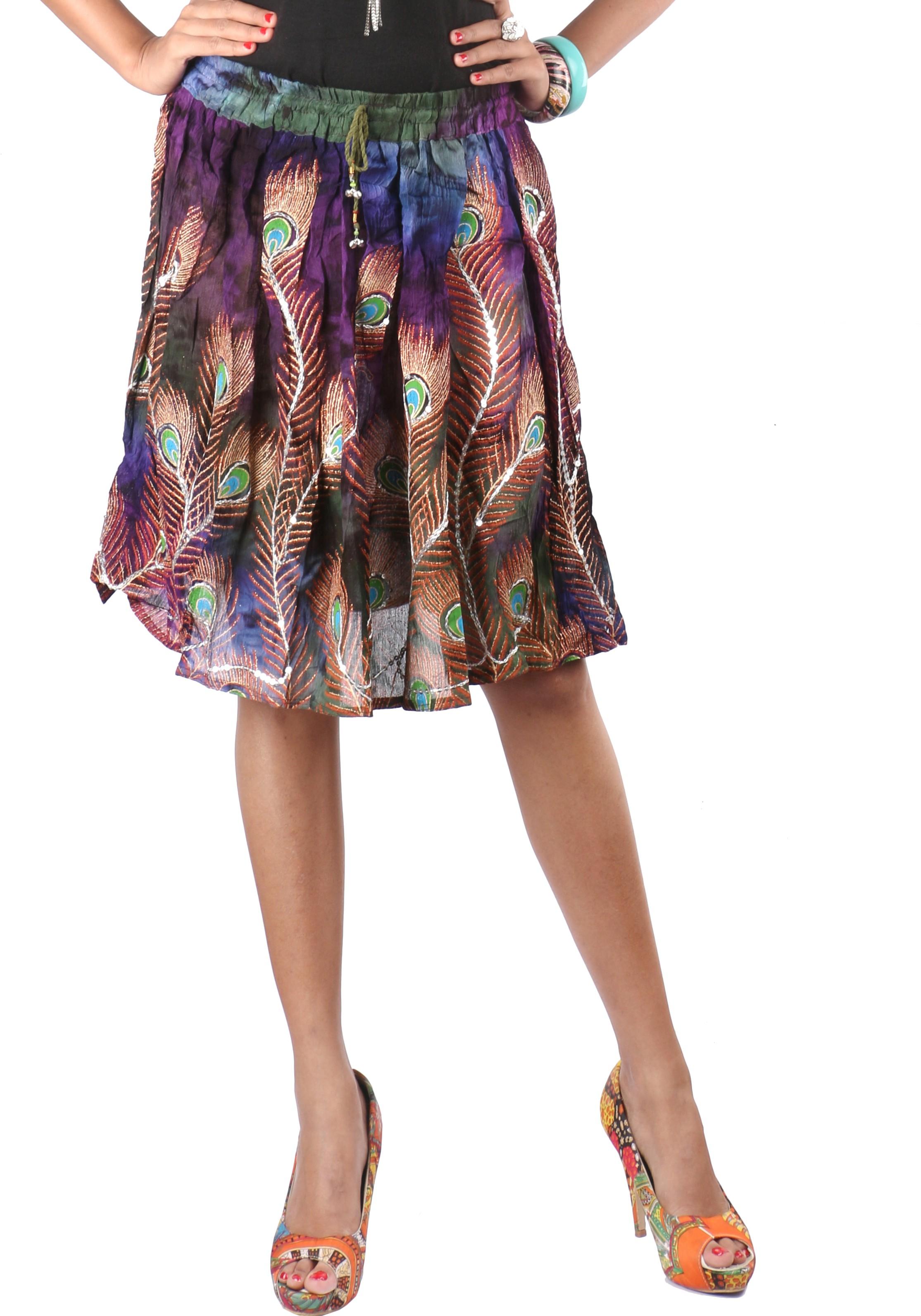 Indiankala4u Printed, Self Design Womens Broomstick Multicolor Skirt