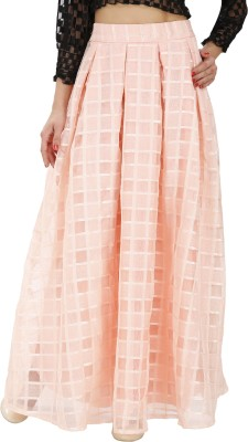 Svt Ada Collections Checkered Women,s Regular Orange Skirt