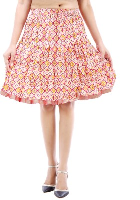 Desert Eshop Printed Women's A-line Maroon Skirt