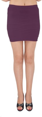 SHYIE Solid Women,s Pencil Purple Skirt