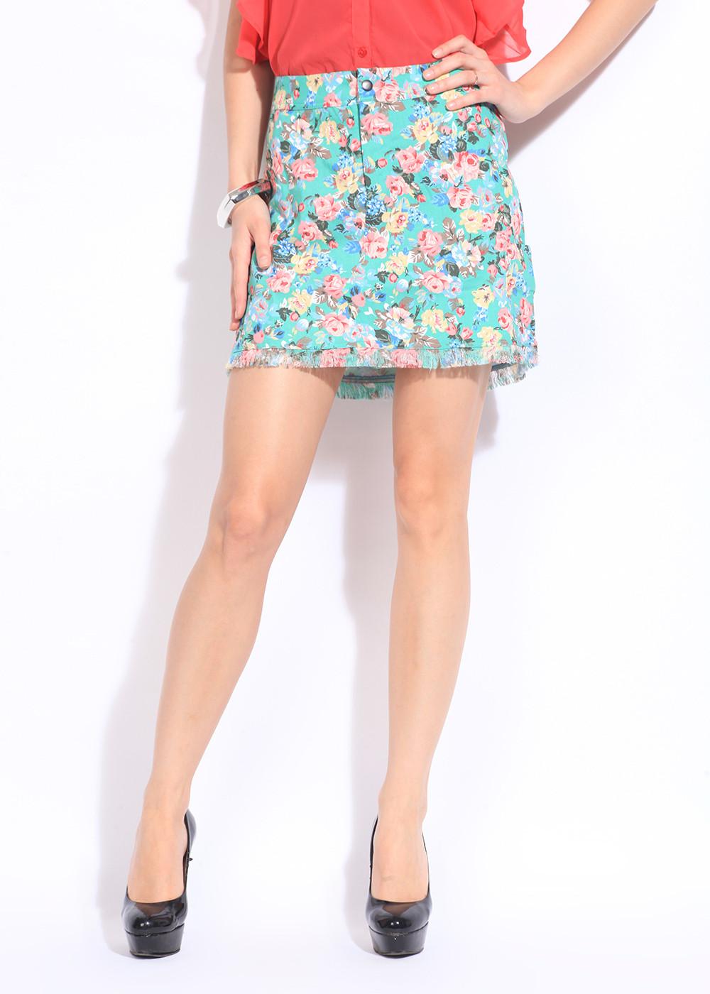 Remanika Floral Print Womens Green, Pink Skirt
