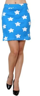 Jake Chiramel Printed Women's Regular Blue Skirt