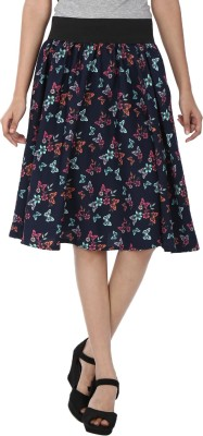 Shopingfever Floral Print Women's A-line Multicolor Skirt