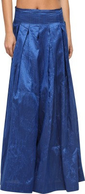 Vodka Fashion India Solid Women's Pleated Blue Skirt