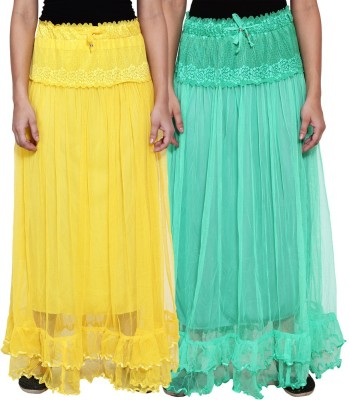 NumBrave Self Design Women's Layered Yellow, Green Skirt