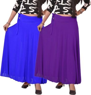 carrol Solid Women's A-line Blue, Purple Skirt