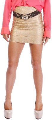 Minty Meets Munt Solid Women's Tube Gold Skirt
