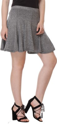 Purys Solid Women's Peplum Grey Skirt