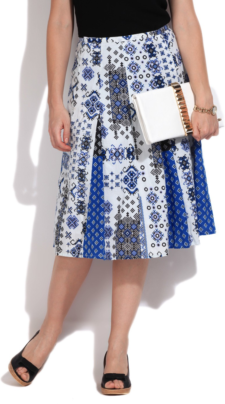 Rain & Rainbow Printed Womens A-line White, Blue Skirt