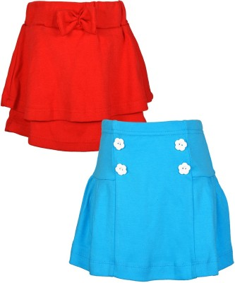 Lil Orchids Embellished Girl's Regular Red, Light Blue Skirt
