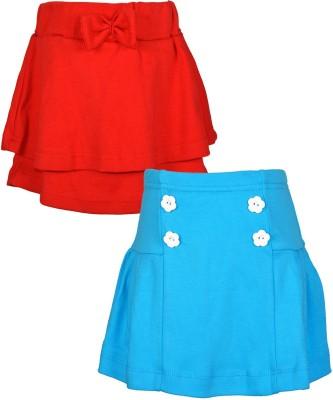 Lil Orchids Embellished Girls Regular Red, Light Blue Skirt