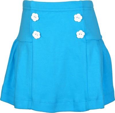 Lil Orchids Embellished Girl,s Regular Light Blue Skirt