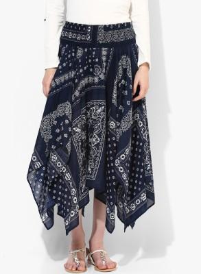 Grain Printed Women's Pleated Dark Blue Skirt