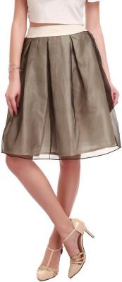 Sassafras Solid Women's Pleated White, Black Skirt at flipkart