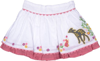 Rute Embroidered Baby Girl's A-line White, Pink Skirt