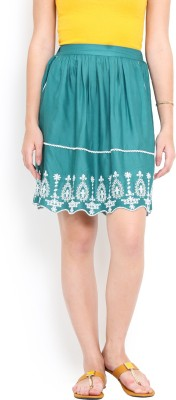 Trend Arrest Embroidered Women,s Gathered Green Skirt