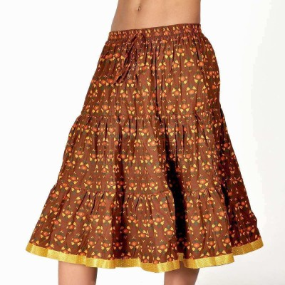 Indiangiftemporium Printed Women's Regular Brown, Yellow Skirt