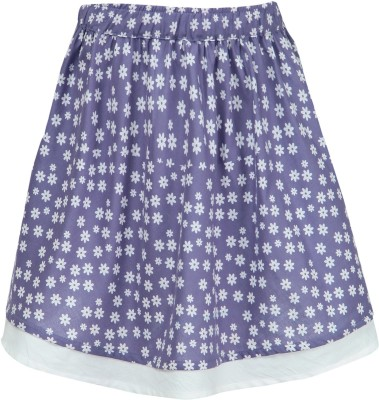Nino Bambino Floral Print Girl's Gathered White, Purple Skirt