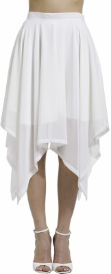 SbuyS Solid Women's Asymetric White Skirt