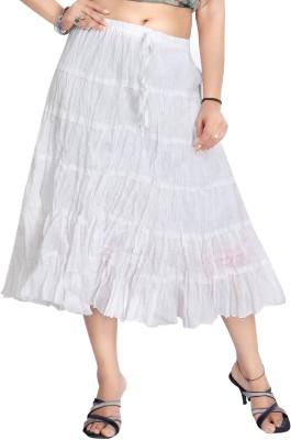 Carrel Solid Women's Broomstick White Skirt