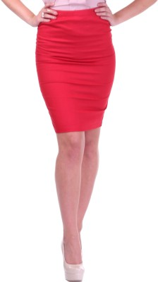 Street 9 Solid Women's Pencil Red Skirt