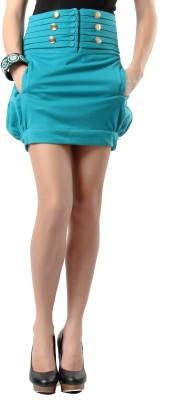 Glam & Luxe Solid Women's Regular Blue Skirt