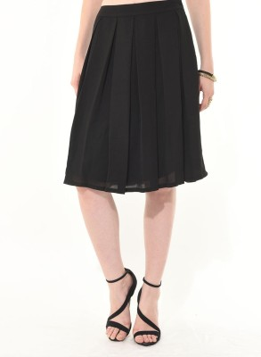 Besiva Solid Women's Pleated Black Skirt