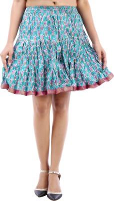 Desert Eshop Printed Women's A-line Blue Skirt