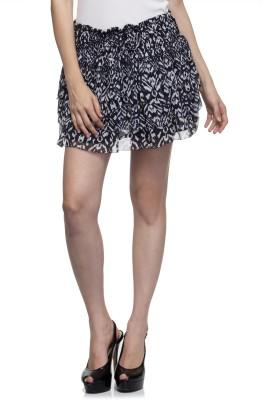 One Femme Printed Women's Layered Blue Skirt