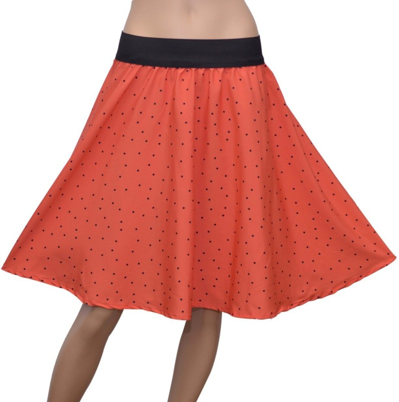 Grace Diva Printed Women's Gathered Pink, Black Skirt