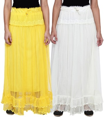NumBrave Self Design Women's Layered Yellow, White Skirt