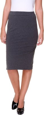 Alibi By Inmark Solid Women's A-line Grey Skirt