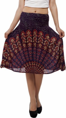Indi Bargain Printed Women's A-line Purple Skirt