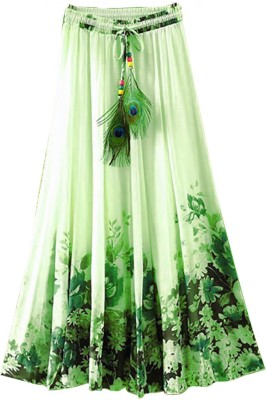 Jassu Fashion Hub Printed Women,s Regular Light Green Skirt