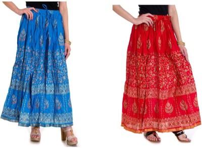 Ooltah Chashma Printed Women's Broomstick Blue, Red Skirt